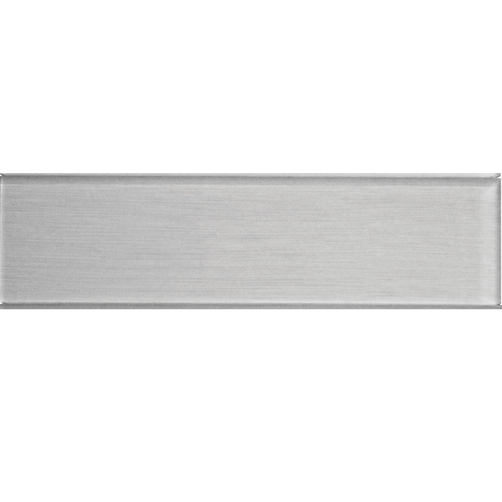 Modamo Carreau pour murs Acadia, 4 po x 15 3/4 po, verre, gris