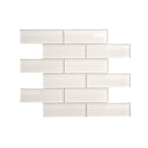 Modamo Acadia White 15-inch x 11-3/4-inch Glass Wall Mosaic Tile