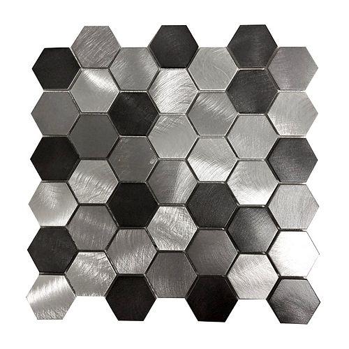 Triple Grey Hexagon 12-7/10-inch x 12-2/5-inch Metal Mosaic Tile
