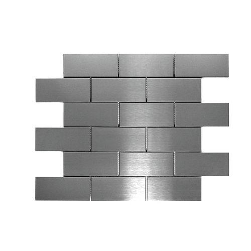Modamo Stainless Steel Brick 11-7/10-inch x 11-7/10-inch Metal Mosaic Tile