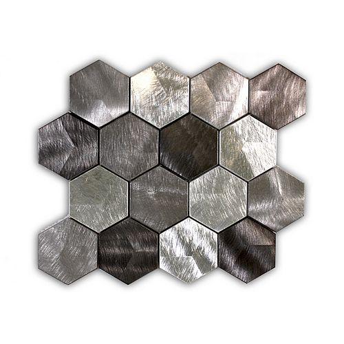 Triple Grey Hexagon 3D 13-inch x 11-inch Metal Wall Mosaic Tile