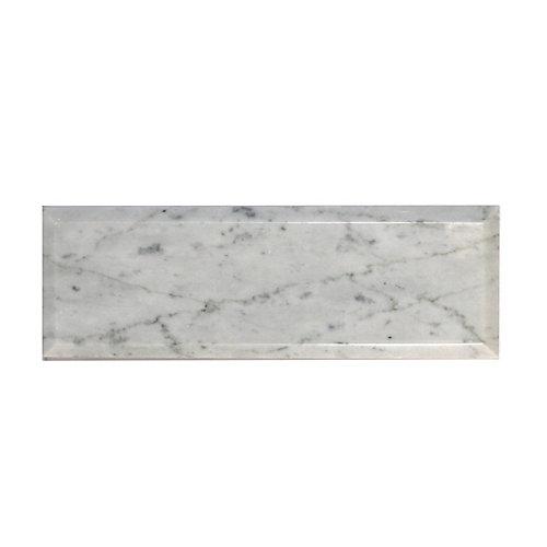 Carreau pour murs en biseauté Bianco Carrara, 3 po x 9 po, marbre poli, blanc