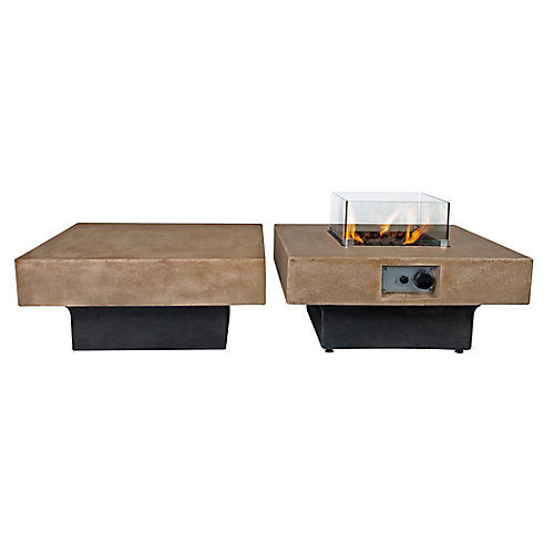 Brayden Modular Fire Table with Glass Shields and Coffee Table Combo