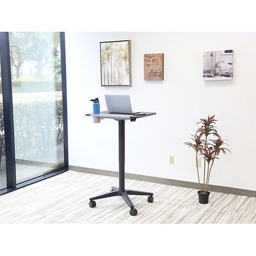 "Pneumatic Adjustable Height Standing Desk 21""x25""x30.5""-45.5"" Jet Black"