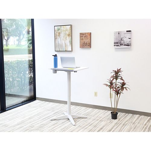 """Pneumatic Adjustable Height Standing Desk 21""""x25""""x30.5""""-45.5"""" Snow White"""