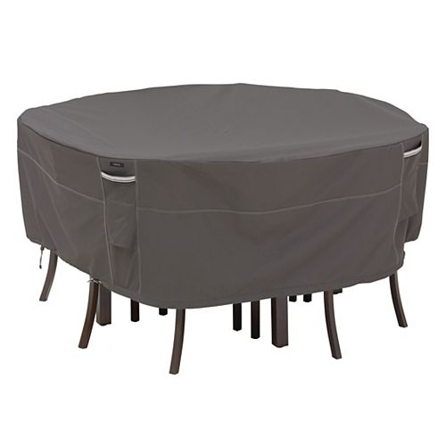 Classic Accessories Ravenna Round Table & Chair Set Cover - Outdoor Furniture Cover with Water Resistant Fabric, Large