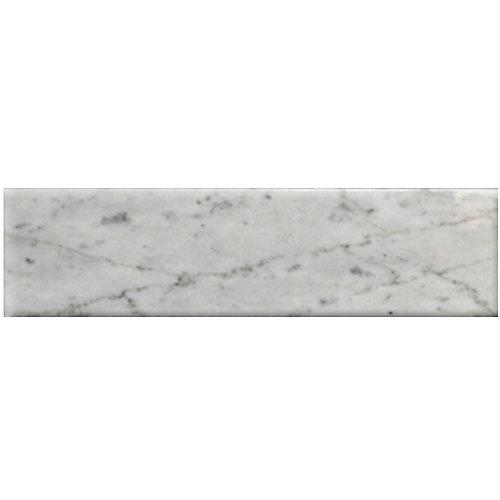 Carreau pour murs et sols Bianco Carrara, 3 po x 12 po, marbre poli, blanc