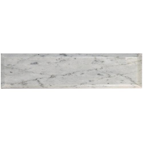 Carreau pour murs en biseauté Bianco Carrara, 4 po x 12 po, marbre poli, blanc