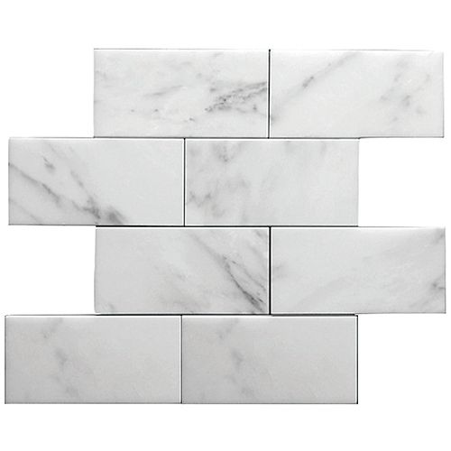 Bianco Carrara Brick Polished White 15-inch x 12-inch Marble Wall and Floor Mosaic Tile