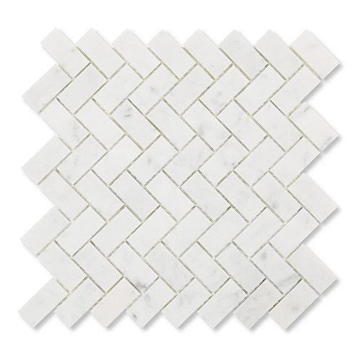Carreaux de mosaïque de forme chevrons pour murs et sols, Bianco Carrara, 12 1/5 po x 11 7/10 po, marbre poli, blanc