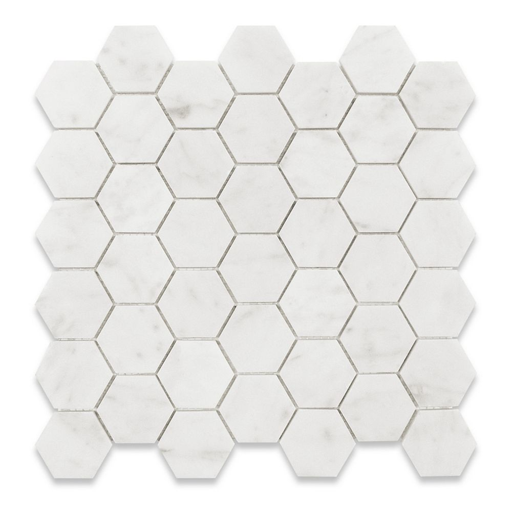 Modamo Bianco Carrara Hexagon Polished White 2-inch x 2-inch Marble Wall and Floor Mosaic Tile