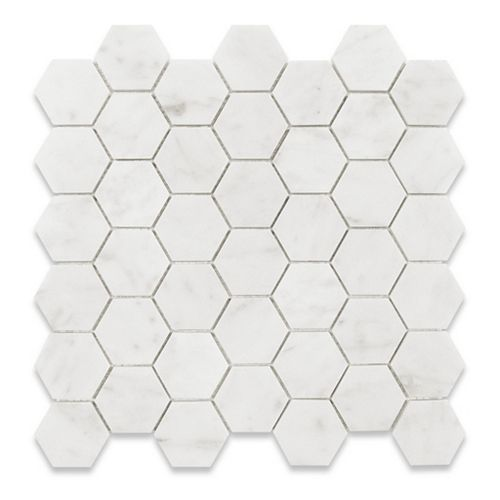 Bianco Carrara Hexagon Polished White 12-4/5-inch x 12-2/5-inch Marble Wall and Floor Mosaic Tile