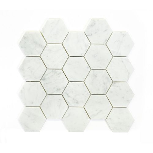 Bianco Carrara Hexagon Polished White 13-9/10-inch x 13-3/5-inch Marble Wall and Floor Mosaic Tile