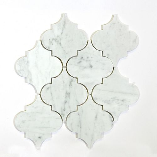 Bianco Carrara Arabesque Polished White 14-7/10-inch x 13-7/10-inch Marble Wall and Floor Mosaic Tile