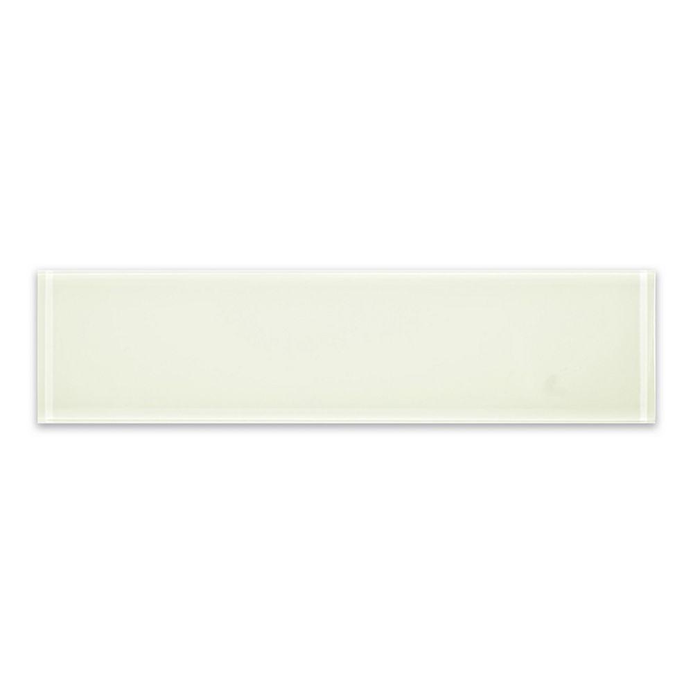 Modamo Carreau mural Riva, 3 po x 12 po, verre, os, blanc ivoire