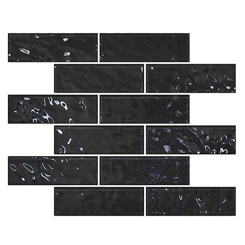 Cobble Brick Charcoal Black 14 3/4-inch x 11 7/10-inch x 4mm Glass Wall Mosaic Tile