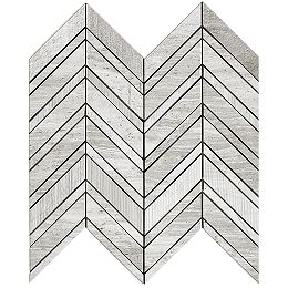 Wooden White Chevron Multi-Finish 15-inch x 12-inch Marble Wall Mosaic Tile