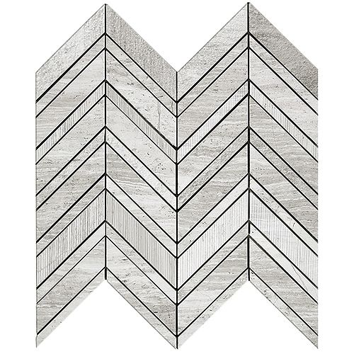 Wooden White Chevron Multi-Finish 14-9/10-inch x 12-inch Marble Wall Mosaic Tile