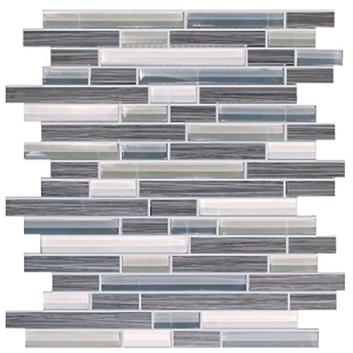 Bamboo Random Strip Storm Grey 13-4/5-inch x 12-1/10-inch Porcelain and Glass Wall Mosaic Tile