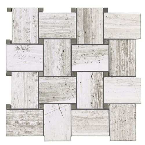 Modamo Wooden White Basket Weave Polished 13-inch x 12-inch Marble Wall and Floor Mosaic Tile