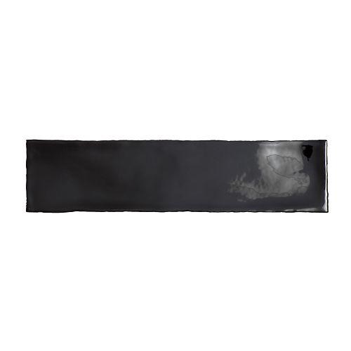 Bellini Glossy Nero Black 2-9/10-inch x 11-3/4-inch Ceramic Wall Tile