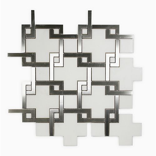 Waterjet Basket Weave Polished White 14-1/10-inch x 14-1/10-inch Marble and Metal Wall and Floor Mosaic Tile
