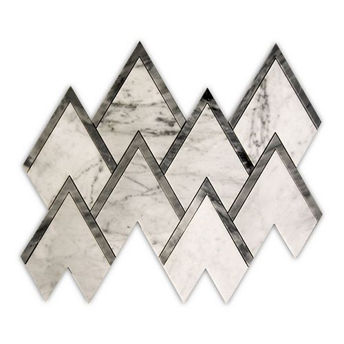 Waterjet Bianco Carrara Pinnacle Polished White 14-1/10-inch x 12-2/5-inch Marble Wall and Floor Mosaic Tile