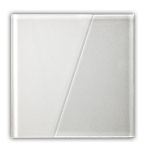Duette Semi-Frosted White 5-9/10-inch x 5-9/10-inch Glass Tile