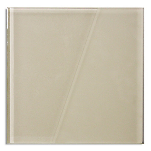 Duette Semi-Frosted Ivory White 5-9/10-inch x 5-9/10-inch Glass Tile