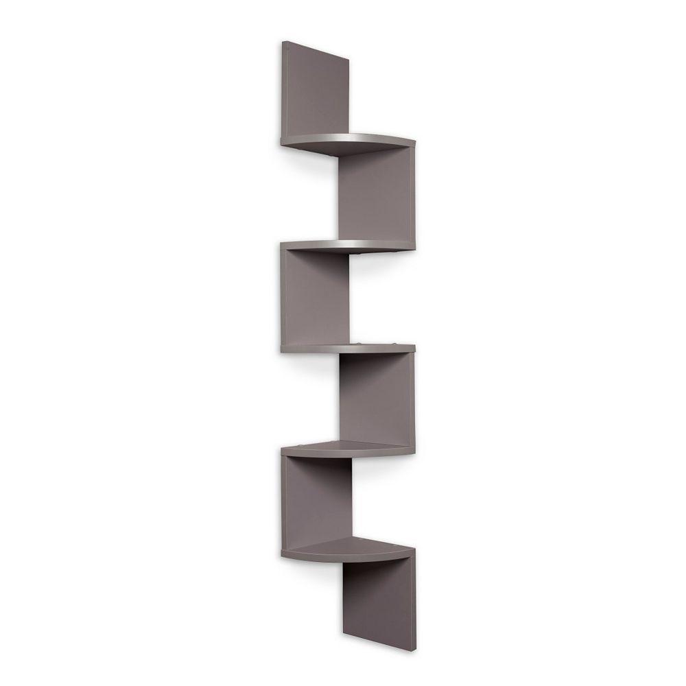 Danya B. Zig Zag 7.75 in W x 7.75 inch D Floating Laminate Corner Wall Decorative Shelf in Gray Finish