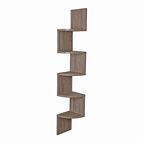 Zig Zag 7.75 inch W x 7.75 inch D Floating Laminate Corner Wall Decorative Shelf  Weathered Oak