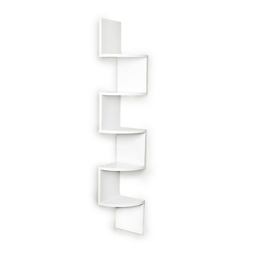 Zig Zag 7.75 inch W x 7.75 inch D Floating Laminate Corner Wall Decorative Shelf in White Finish