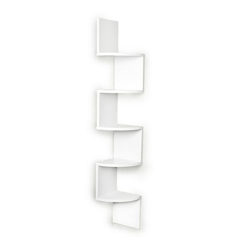 Zig Zag 7.75 inch W x 7.75 inch D Floating Laminate Corner Wall Decorative Shelf in White Finish