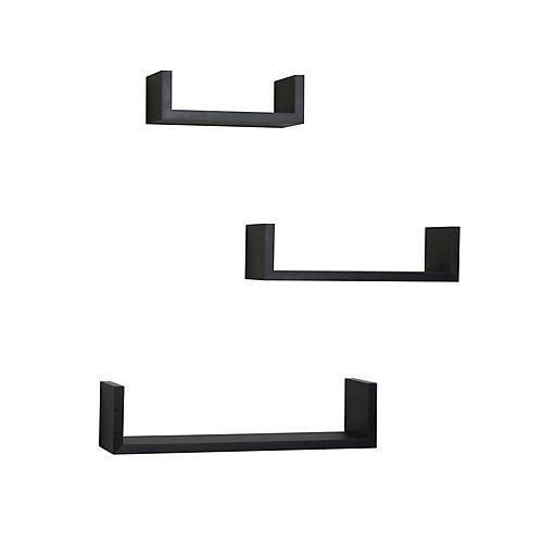 Danya B. 17 inch x 4 inch Black Floating 'U' Laminated Shelves (Set of 3)