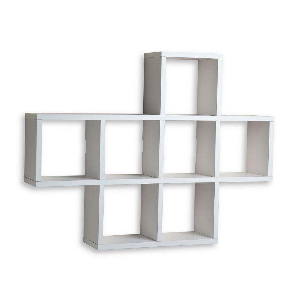 Danya B. 31 inch x 23 inch White Laminated Cubby Shelf