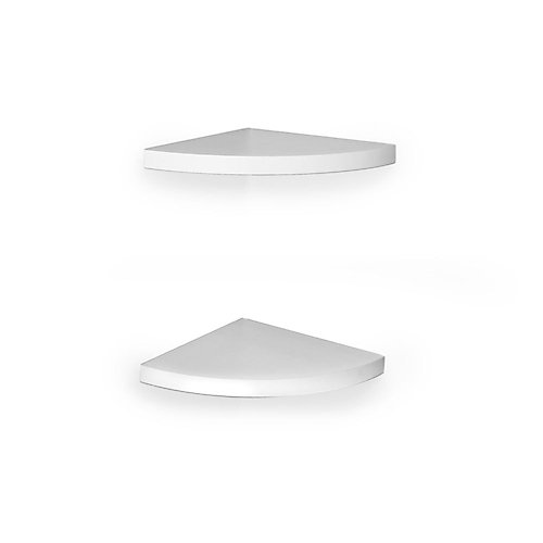11.5 inch x 11.5 inch White Corner Radial Shelves (Set of 2)
