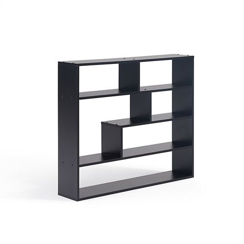 Danya B. 37 inch x 32 inch Black Laminated Rectangular Floating Wall Shelf
