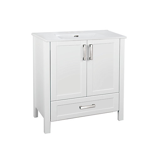 Delchester 30 inch Vanity with Thin Ceramic Top, White Finish