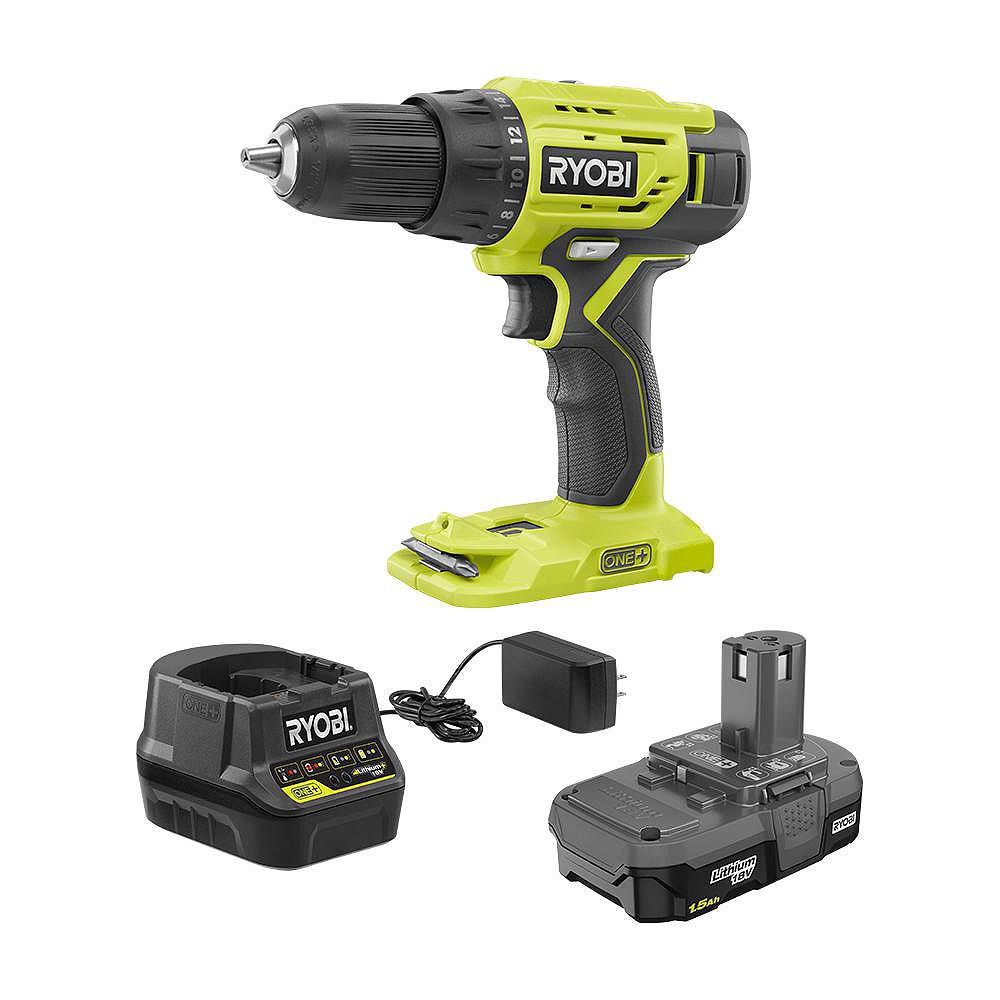 RYOBI 18V ONE+ Lithium-Ion Cordless 1/2 -inch Drill/Driver Kit with (1) 1.5 Ah Battery and 18V Charger