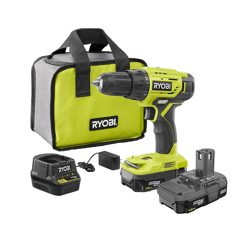 RYOBI 18V ONE+ Lithium-Ion Cordless 1/2 -inch Drill/Driver Kit with (2) 1.5 Ah Batteries, Charger, and Bag