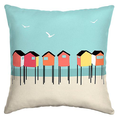Beach Hut Outdoor Throw Pillow