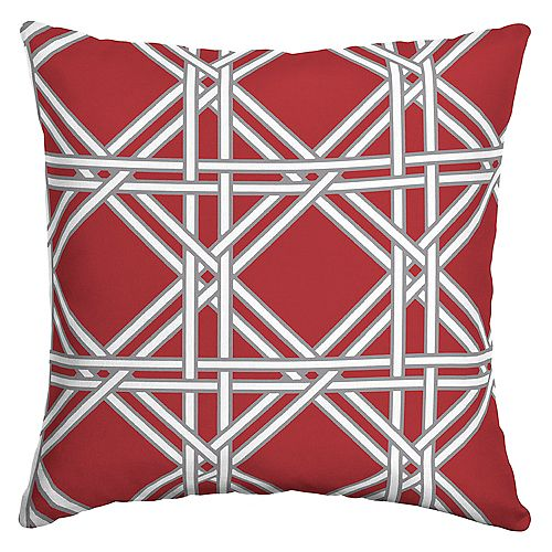 Wicker Lattice Outdoor Square Throw Pillow in Chili