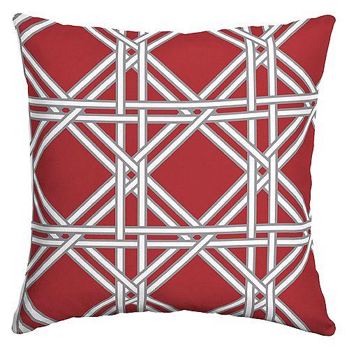 Coussin décoratif carré pour l'extérieur à motif d'osier tressé, rouge chili