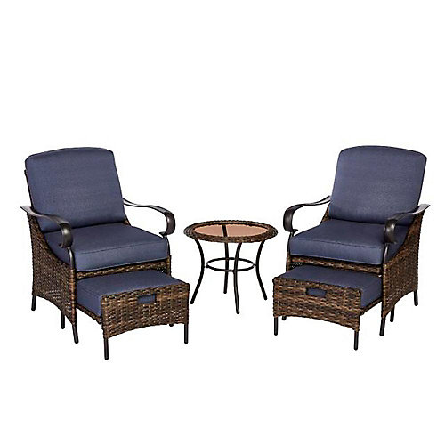 Layton Pointe 5-Piece Wicker Patio Conversation Seating Set in Brown with Standard Sky Blue Cushions