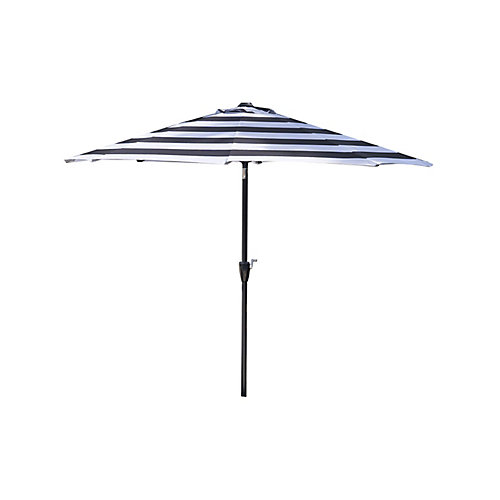 9 ft. Aluminum Market Patio Umbrella in Black & White Cabana Stripe