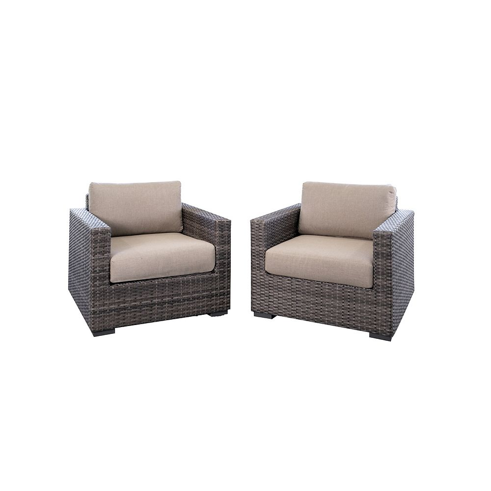 Home Decorators Collection Palmetto All-Weather Wicker Patio Club Chair with Grey Cushion (2-Pack)