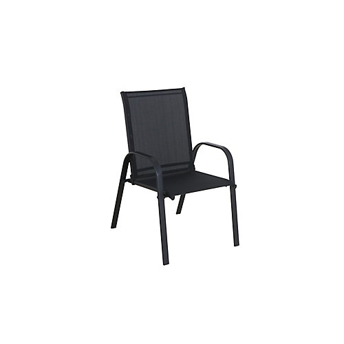 Mix and Match Steel Sling Patio Dining Chair in Black (Set of 2)