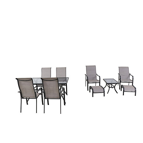 Greyhurst 10-Piece Sling Patio Dining and Chat Combination Set
