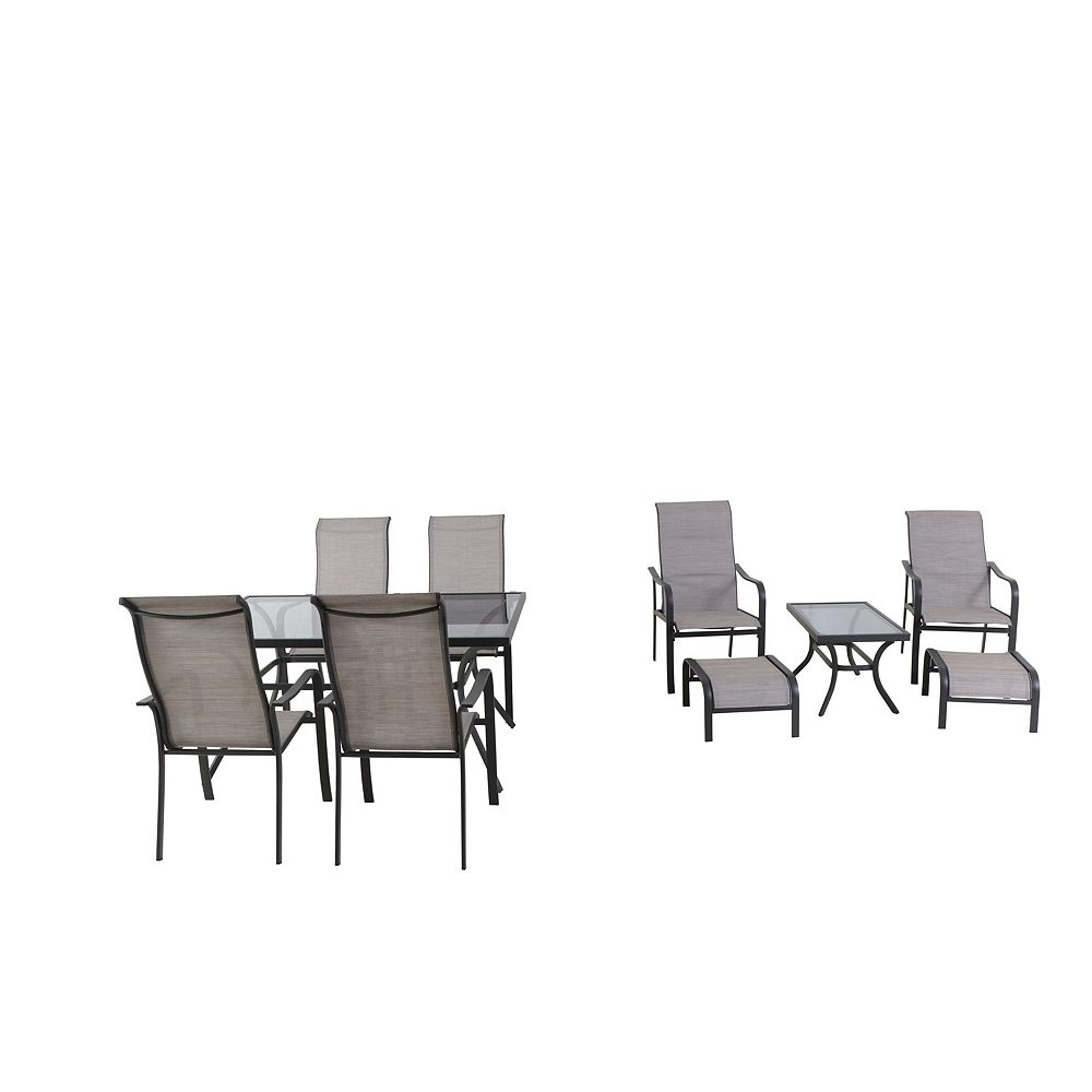 Hampton Bay Greyhurst 9 Piece Sling Patio Dining and Chat ...