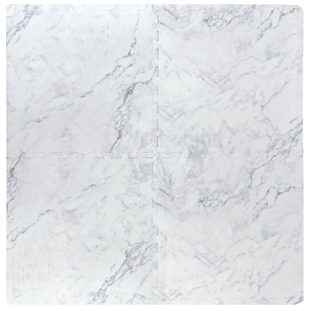 TrafficMASTER Carreau de mousse imbriqué, 24 po x 24 po, faux marbre, ens. de 4